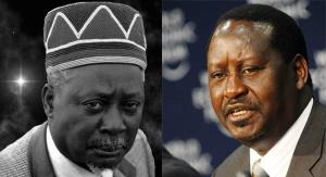 Former Vice President Jaramogi Oginga Odinga and his son Former Prime Minister Raila Odinga